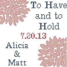 Mr&Mrs Wedding Cross Stitch Pattern Personalised Wedding Sampler ...