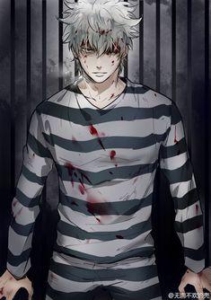 those prison episodes were one of the most badass ones in gintama Manga Anime, Manga Boy, Anime Art, Hot Anime Guys, Anime Love, Boys Lindos, Prison Outfit, Gintama, Samurai