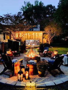 8 cozy fire pit ideas for outdoor fall decor and entertaining tips using budget-friendly finds from Walmart for a backyard campfire party. Backyard Movie Theaters, Garden Mum, Fire Pit Chairs, Ikea Bookcase, Cozy Backyard, Yellow Houses, Diy Fire Pit, Large Planters, Yard Design
