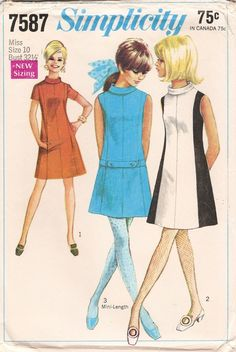 Simplicity 7587 Vintage Sewing Pattern Mod dress color block drop waist gogo mini dress A line sleeveless sleeveless color block Moda Fashion, 1960s Fashion, Vintage Fashion, Club Fashion, Fashion Fashion, Trendy Fashion, Korean Fashion, Fashion News, Fashion Jewelry