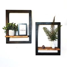 Frame Wooden Floating Shelves ★ Spice up your bedroom, living room, bathroom, or kitchen with incredibly stylish and modern floating shelves. Frame Shelf, Wood Wall Shelf, Wooden Shelves, Wall Shelves, Modern Floating Shelves, Floating Shelf Decor, Diy Home Decor, Room Decor, Diy Wall Decor