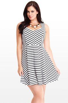 Nancy Stripe Flare Dress #Summer #Dresses