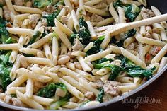 Penne with chicken sausage, beans and escarole