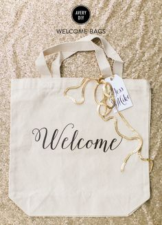Love this DIY wedding welcome bag for out-of-town guests. And it's so easy to make yourself and personalize with fun items everyone will love.