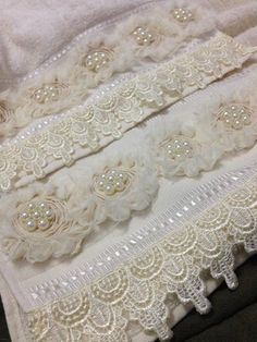 This post was discovered by Ay Soft Towels, Hand Towels, Dish Towels, Sewing Hacks, Sewing Projects, Crochet Lace Edging, Pearl And Lace, Linens And Lace, Silk Ribbon Embroidery