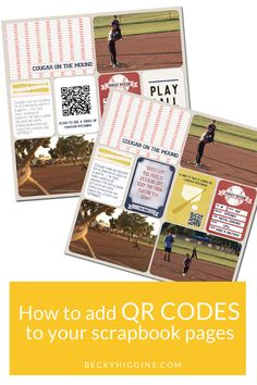 How to add QR codes to your scrapbook pages so you can scan them and watch a video that goes along with the photos! Step by step tutorial on how to add QR codes to your scrapbook pages. Think Harry Potter newspaper! Paper Bag Scrapbook, Pocket Scrapbooking, Scrapbook Supplies, Scrapbooking Layouts, Digital Scrapbooking, Recipe Book Holders, Bridal Shower Scrapbook, How To Make A Paper Bag, Digital Project Life
