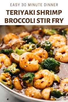 Teriyaki Shrimp Broccoli Stir Fry (Ready in 30 mins) Watch the recipe video above. Healthy Teriyaki Shrimp Broccoli Stir Fry is ready in 30 minutes and is an easy Asian recipe when you want dinner quickly. Made with a homemade teriyaki sauce, this Authentic Chinese Recipes, Chinese Chicken Recipes, Easy Chinese Recipes, Recipe Chicken, Salsa Teriyaki Casera, Teriyaki Shrimp, Teriyaki Sauce, Asian Shrimp, Teriyaki Stir Fry