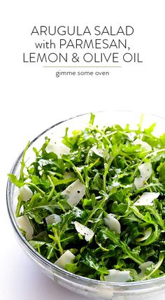 Arugula Salad with Parmesan, Lemon and Olive Oil - My Notes: a new dinner party go to! The easiest salad around and so light and fresh Vegetarian Recipes, Cooking Recipes, Healthy Recipes, Simple Salad Recipes, Simple Salads, Simple Green Salad, Vegetarian Salad, Easy Recipes, Clean Eating