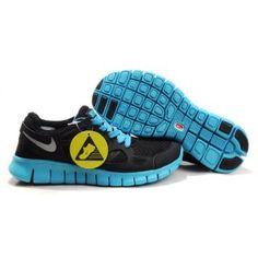 newest 1728b 6077c Billig grasi s 2012 Dame Nike Free Run Plus 2 Svart Blå Sølv Nike Free
