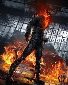 Ghost Rider, Çağlayan Kaya Göksoy on ArtStation at https://www.artstation.com/artwork/xN4Pm