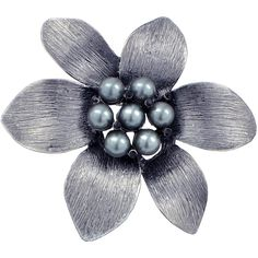 Black Flower Pin Brooch