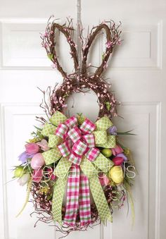 faux cherry blossom bunny wreath with faux tulips and colorful ribbon bows