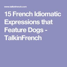 15 French Idiomatic Expressions that Feature Dogs - TalkinFrench