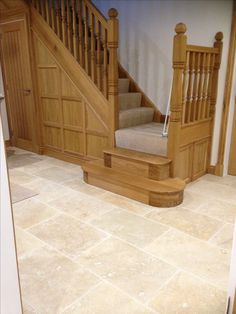Warm wood tones look great against our Country Mix Tumbled Travertine Stone Tile Flooring, Travertine Tile, Stone Tiles, Rustic Country Kitchens, Extension Ideas, House Floor, Kitchen Tiles, House Ideas, Dining Room