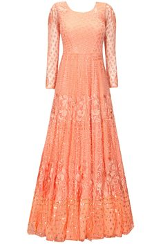 Coral peach thread embroidered anarkali gown available only at Pernia's Pop-Up Shop.