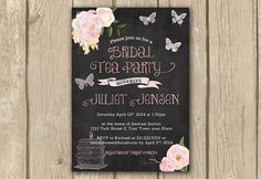 birdcage invite, butterflies, cottage chic, chalkboard invite, bridal tea party, tea party invite, peonies roses, DRAFT in 3 business days