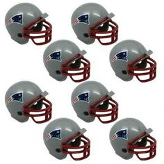 New England Patriots NFL Helmet Party Kit www.teeliesfairygarden.com Let your fairies enjoy a football game with this helmet party kit! This set includes 16 helmets of the New England Patriots enough for all of your fairies and gnomes. #fairyhelmets