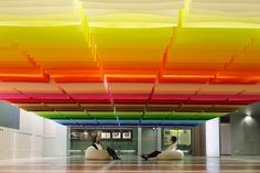 Floating Rainbow Installation from Colorful Paper