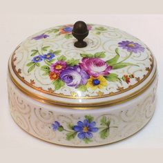 Antique French Hand Painted Porcelain Round Covered Box with Bronze Acorn Finial