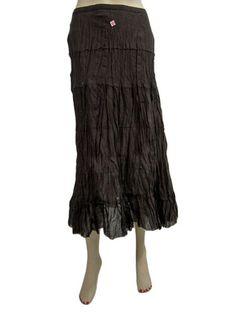 Women Boho Crinkled Skirt Designer Long Skirt Black Cotton Gypsy Fashion Skirt | eBay