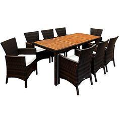 Deuba Poly Rattan Sitzgruppe 8+1 Braun | 7cm Dicke Sitzauflagen |  Tischplatte Aus Akazienholz