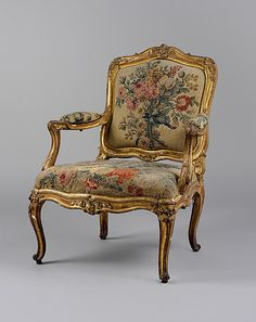 Armchair  Tapestry woven at: Royal Manufactory, Beauvais   Date: first half 18th century Culture: French Medium: Carved and gilded beechwood; Beauvais tapestry upholstery