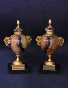 Pair of 18th Century Derby Spa or Blue-John Urns