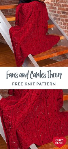Fans and Cables Throw free knit pattern in Red Heart Super Soft. Update a classic! Knit this fans and cable pattern in a rich jewel color for a cozy throw that warms a chilly evening. Easy Knitting Patterns, Knitting Stitches, Free Knitting, Knitting Projects, Free Crochet, Knit Crochet, Crochet Patterns, Soft Blankets, Baby Blankets