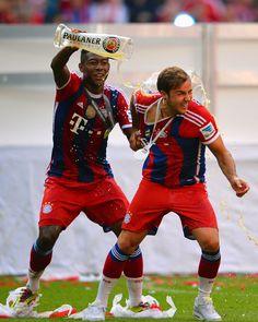David Alaba and Mario Gotze of FC Bayern