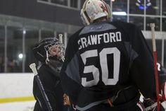 Jarrett's wish came true: stopping shots with advice from his idol Corey Crawford.