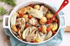 This full roast chicken dinner with golden vegies and crunchy potatoes is ready in next to no time.