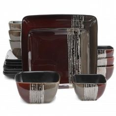 Gibson Elite*CONTEMPO COVE*16 Piece*SQUARE*Plates&Double Bowl Dinnerware Set*RED #Gibson