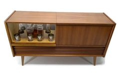 UNIT DETAILS:  VintedgeCo™ - TURNTABLE READY SERIES™ - Mid Century Modern Stereo ConsoleTurntable Record Player Cabinet w/BUILT-IN BAR  REBUILT & REFI