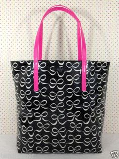 KATE SPADE DAYCATION BON SHOPPER BOWS BLACK CREAM PK TOTE BAG PURSE