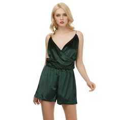 Spring Summer Deep V Neck Velvet Playsuit Women Elegant Evening Party Club Bodysuit Sexy Bodycon Rompers Womens Jumpsuits