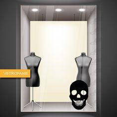 teschio che ride - vetrofania - halloween - realizzata in vinile prespaziato