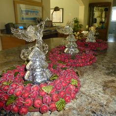 Love these berry wreaths and the clear angels - my photo