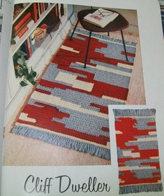 Vintage this crochet pattern contains directions for a crocheted rug that bears a Southwestern or Indian type motif. The rug is worked in three colors of Heavy Rug Yarn, with fringed ends. Crochet Carpet, Crochet Home, Free Crochet, Knit Rug, Rug Yarn, Modern Crochet, Vintage Crochet, Vintage Rugs, Crochet Rug Patterns