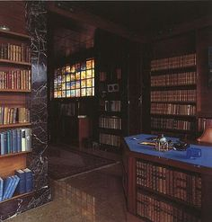 Marble library / office in Villa Karma, by Adolf Loos