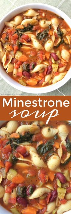 Classic Minestrone soup with a tomato vegetable broth base and loaded to the max with fresh veggies, beans, and tender pasta. Simmer with some spices and you have a delicious & healthy bowl of soup for dinner. Chili Recipes, Slow Cooker Recipes, Crockpot Recipes, Vegetarian Recipes, Cooking Recipes, Healthy Recipes, Soup And Sandwich, Sandwich Recipes, Soup And Salad
