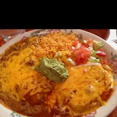 Cheese enchilada and chile relleno