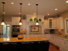 Traditional Kitchen with IMAX 3 Piece Ceramic Pear Sculpture, Charlton Home 2 Piece Wood and Brass Apple and Pear Set
