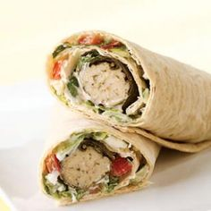 #Healthy #Burrito #Recipes and Healthy Wrap Recipes - #Dolmas #Wrap. This satisfying Middle Eastern wrap is full of dolmas and fresh vegetables. It makes a great take-along #lunch if you pack the components separately.
