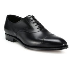 Edward Green Captoe Leather Oxfords : Edward Green Shoes (€1.175) ❤ liked on Polyvore featuring men's fashion, men's shoes, men's oxfords, apparel & accessories, black, mens cap toe shoes, mens black shoes, mens black oxford shoes, mens black cap toe shoes and mens oxford shoes