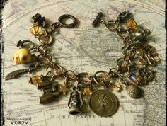 Pirate Themed Vintage Style Charm Bracelet Vintage Style, Vintage Fashion, Pirate Theme, Jewelry Design, Unique Jewelry, Charm Bracelets, Pirates, Glass Beads, Bronze