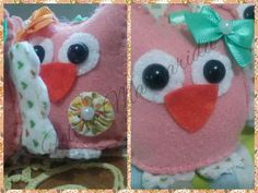 Felt owl - chaveiro corujinha