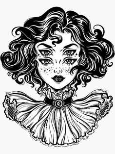 Gothic witch girl head portrait with curly hair and four eyes. Poster tattoo girl drawing Gothic witch girl head portrait with curly hair and four eyes. Tattoo Drawings, Art Drawings, Gothic Drawings, Weird Drawings, Drawing Drawing, Drawing Tips, Illustration Art Nouveau, Hair Illustration, Realistic Eye Drawing