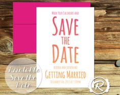 Printable Wedding Save the Date, Bright Ombre, Modern Graphic Style, DIY Printable Invitations Save the Date