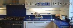 Mirror stripes design by CreoGlass Design (London, UK). View more coloured glass kitchen splashbacks and non-scratch glass worktops on www.creoglass.co.uk #kitchen