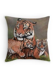 """Family of tigers"" Throw Pillow by Savousepate on Redbubble #throwpillow #homedecor #drawing #felines #cubs"